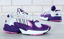 Женские кроссовки Adidas Yung-1 фиолетовые топ реплика, фото 3