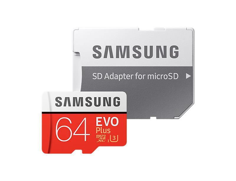 Карта памяти Samsung 64GB microSDXC Class 10 EVO Plus SD Adapter  UHS-I U3 (MB-MC64GA)