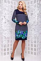 Красиве трикотажне плаття з турецької трикотажу великого розміру 50-56 чорний з бірюзовим квітами, фото 1