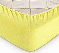 Натяжная махровая простынь на резинке с наволочками (Лимон) Турция