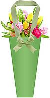 Бумажная сумка для букетов и горшечных цветов, фисташковая