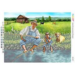 БСР-3277. Схема для вишивки бісером Риболовля у селі