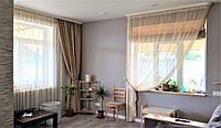 оформления зала: шторы мешковина и тюль сетка