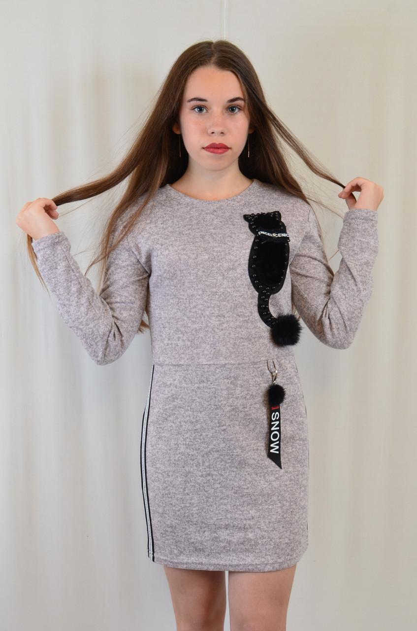 Красивое нарядное трикотажное детское платье-туника с котиком недорого.