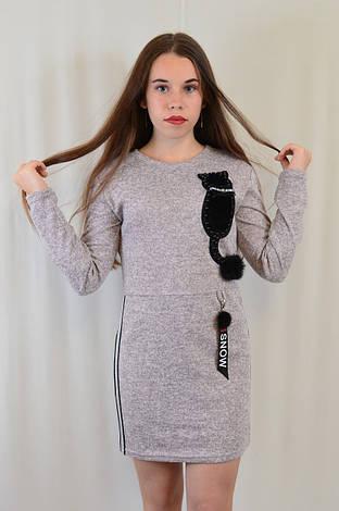 Красивое нарядное трикотажное детское платье-туника с котиком недорого., фото 2