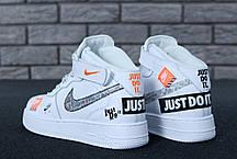 Мужские кроссовки Nike Air Force 1 Hi Just Do It White топ реплика, фото 2