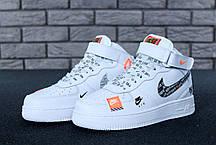 Мужские кроссовки Nike Air Force 1 Hi Just Do It White топ реплика, фото 3