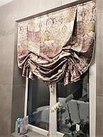 английская штора с буфами в ванной комнате