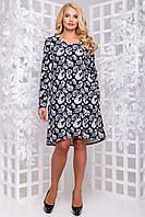 Трикотажное притованное платье А-силуэта с карманами большого размера 50-54 фиолетовый с рисунком: белый, фото 1
