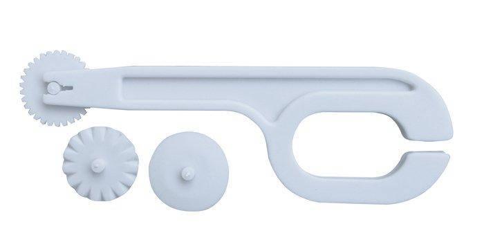 Ролик- нож пластиковый для моделирования мастики 3 вида строчки L 120 мм (шт), фото 2
