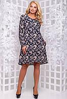 Трикотажне притованное сукня А-силуету з кишенями великого розміру 50-54 фіолетовий з малюнком: кавовий, фото 1