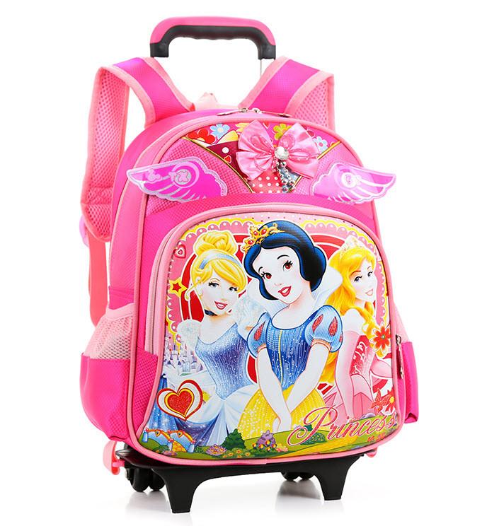 Шикарные школьный рюкзак на колесах с принтом белоснежки, принцессы Софии