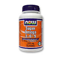 Рыбий жир, Омега Now Foods Super Omega 3-6-9, 1200 мг   90 softgels, фото 1