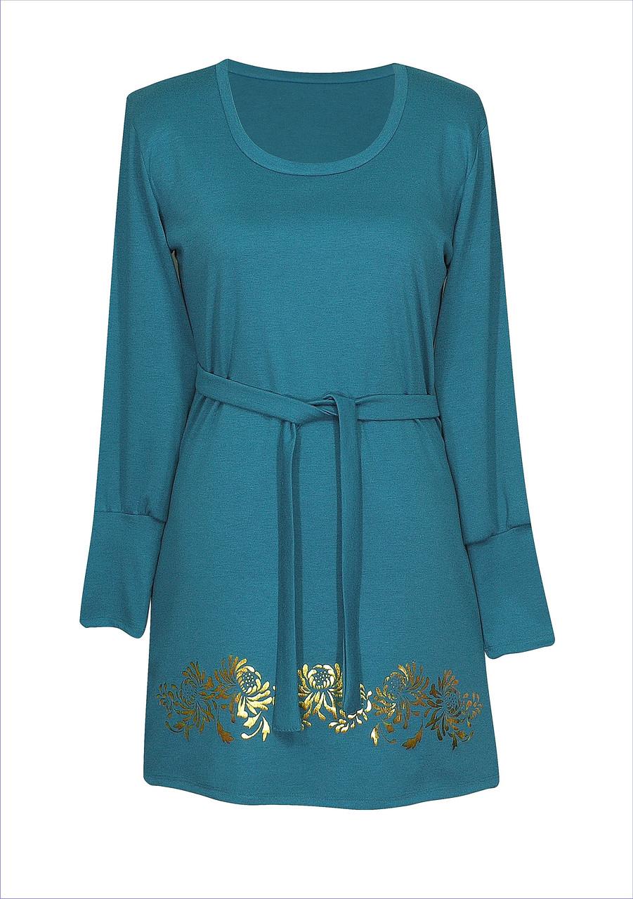 Трикотажное платье с вырезом Хризантемы