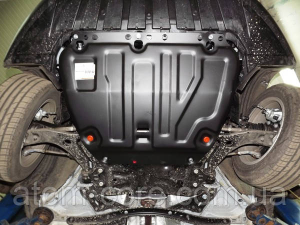 Защита радиатора, двигателя и КПП на Ниссан Навара D40 (Nissan Navara D40) 2005-2015 г (закладные)