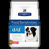 Корм Хилс д/д  Hills Diet d/d ветеринарная диета для собак с проблемами кожи лосось рис 2 кг