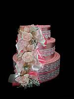 """Тортик для денег """"Розы"""" розовый"""
