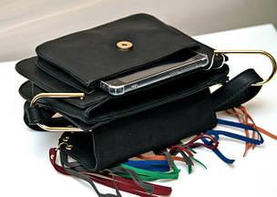 72e57cdbe8ce ▷ Купить Женскую модную стильную сумку чёрную бахрому разноцветную ...