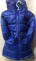 Детская зимняя куртка на овчине для девочки  оптом 92-116 электрик