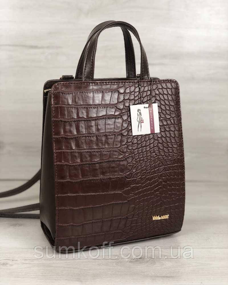d2c390cbb393 Сумка-рюкзак коричневый 44805 трансформер через плечо каркасный крокодил - Интернет  магазин сумок SUMKOFF -