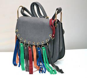 Женская модная стильная сумка серая бахрома разноцветная, фото 2