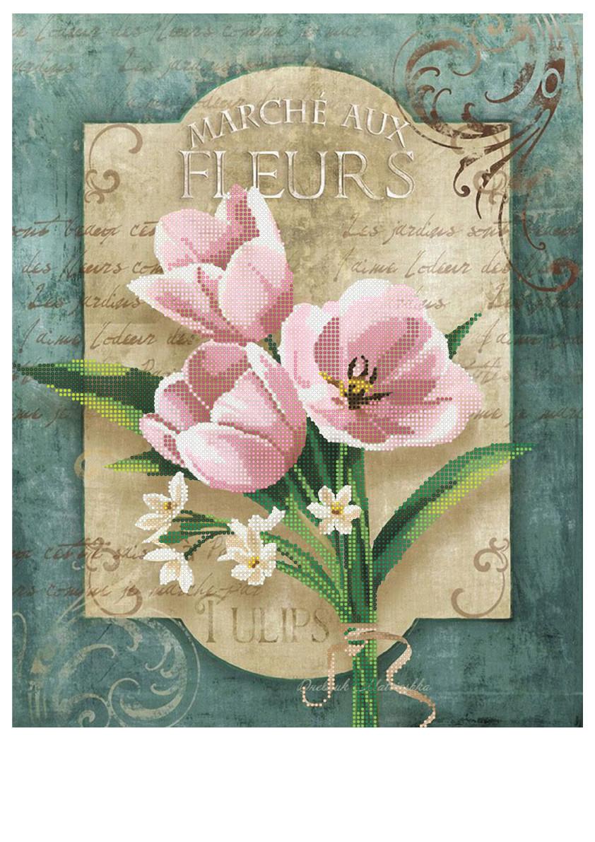 """Схема для частичной зашивки бисером - """"Тюльпаны"""""""