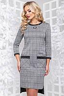 Модне трикотажне плаття в клітку пряме 44-50 розміру, фото 1