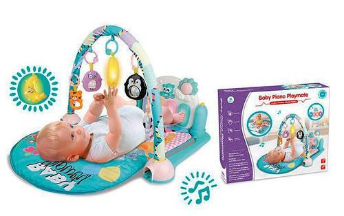 Игровой коврик для младенца с пианино. Музыкальный, светящийся