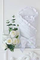 Белый конверт-одеяло на выписку с французским кружевом, демисезонный