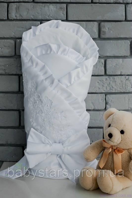 Конверт-одеяло для новорожденного, белый, зимний