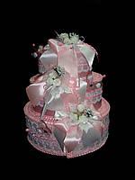 """Тортик для денег """"Букетики"""" розовый"""