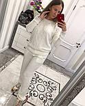 Женский вязаный костюм: свитер с жемчугом и брюки (4 цвета), фото 3