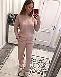 Женский вязаный костюм: свитер с жемчугом и брюки (4 цвета), фото 8