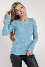 Красивый весенний женский голубой джемпер размер 48