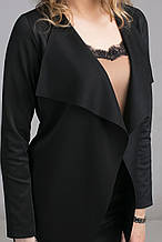 Женский черный свободный жакет без застежки 44-48