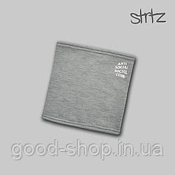 Теплый горловик Anti Social Social Club серого цвета  (люкс копия)