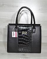 Черная женская сумка саквояж каркасная классическая на плечо 31610, фото 1