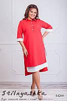 Большое платье-рубашка красное, фото 1