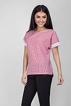 Летняя натуральная блуза с кружевом размер 42