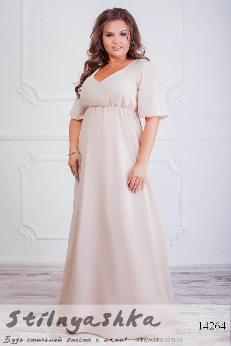 Вечернее платье большого размера Графиня беж, фото 1