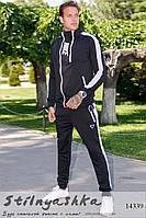 Мужской трикотажный спортивный костюм Nike черный с белым, фото 1