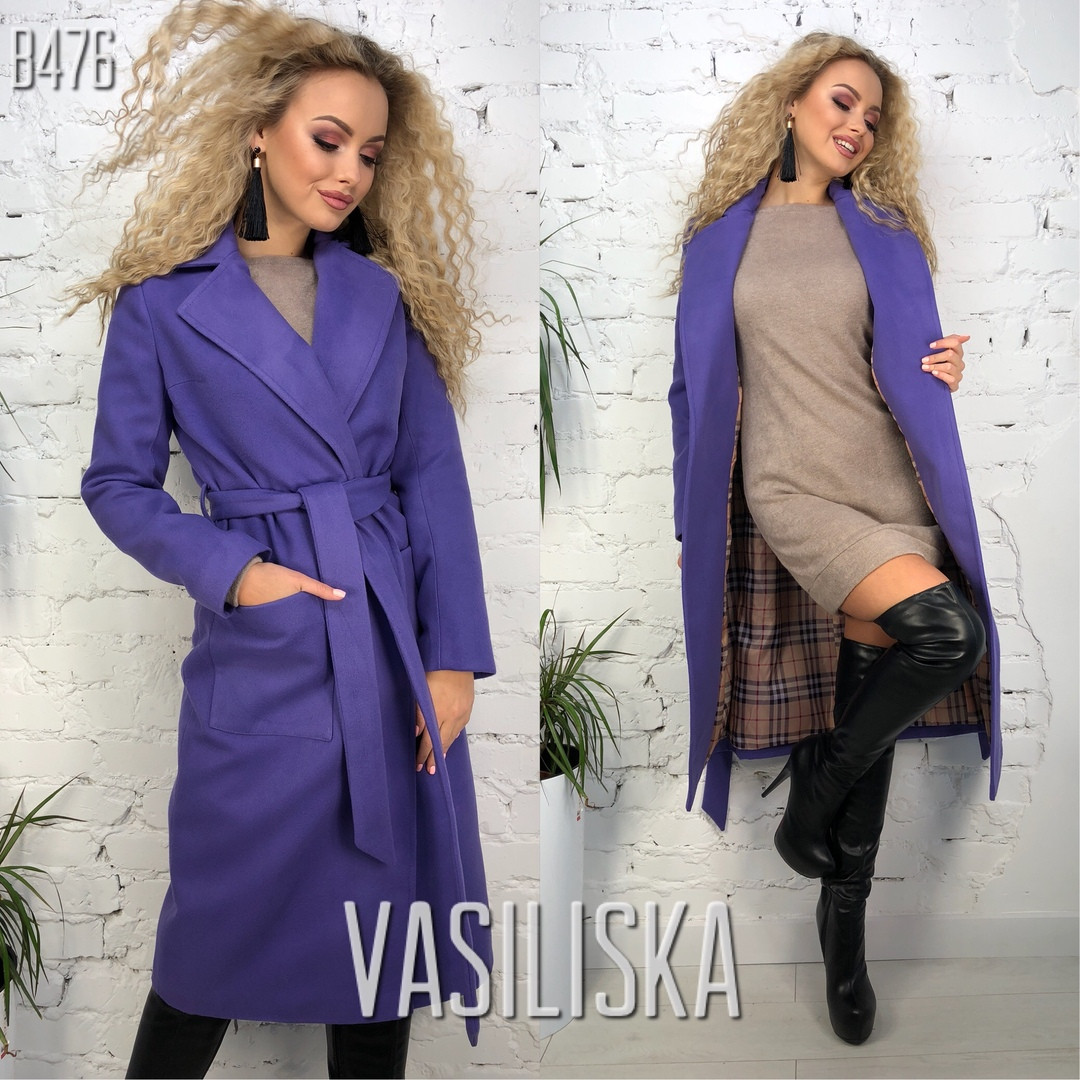 Женское кашемировое пальто на запах в расцветках. ВВ-36-1018 (В476)