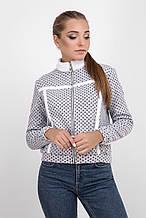 Женская серая куртка-жакет в горошек 42-46