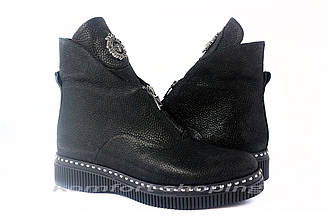 Ботинки женские , черные кожаные, флотар с блеском   V 1206