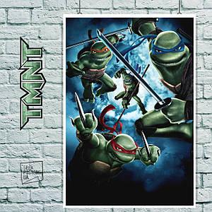 Постер Черепашки-ниндзя, TMNT. Размер 60x41см (A2). Глянцевая бумага