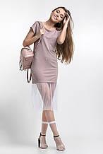 Модное молодежное розовое платье весна-лето 42-46