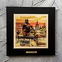 Картина 28х28 см из натурального дерева и керамики размером 20х20 см. Богдан Хмельницкий. Киев. Сувениры.