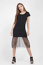 Женское летнее молодежное платье черное фатин 42-46
