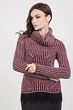Молодежный двухцветный свитер крупной вязки 42-50