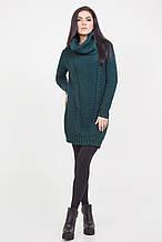 Теплое вязанное платье-туника женское 50-54